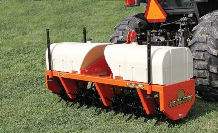Through cooperative buying, grounds maintenance managers have access to needed equipment like rotary cutters, seeders and mowers while also making the most of their equipment budgets. Pictured is Land Pride's Core Aerator CA2572. (Photo provided)