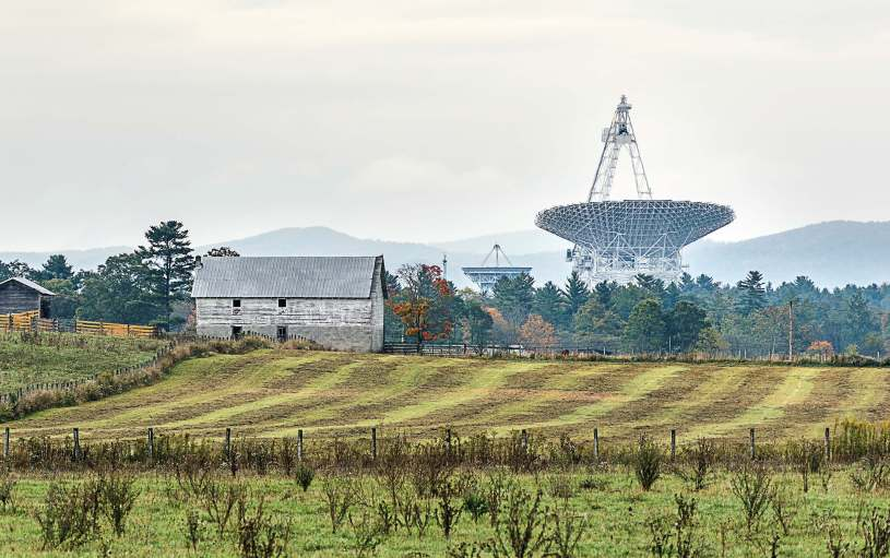 The GBT is the world's largest fully steerable radio telescope and is dedicated to the tireless search for signals from outer space. The 2,004 receptor panels on the 2.3-acre concave collection dish are individually adjustable and can be focused to capture the slightest pulse emitted from the cosmos. (Andriy Blokhin/Shutterstock.com)