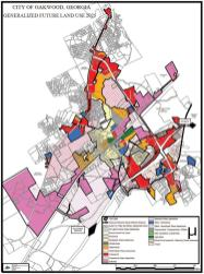 Oakwood, Ga., has a long history of partnerships, both public/public and public/ private. Such partnerships have been a key to the city's development. Pictured is Oakwood's land development plan. (Photo provided by city of Oakwood, Ga.)