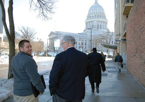 Port Washington, Wis., Mayor Mike Vandersteen, right, heads to the Capitol in Madison, Wis., with Wisconsin Municipal League lobby members to meet with legislators to discuss, among other things, the dark store strategy. (Photo provided)