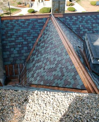 Sections of slate roof and copper were replaced during the renovation to reduce leaking. (Photo provided by Compass Project Management)