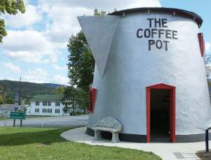 The Coffee Pot, teetering on the edge of the scrap heap, was rescued by preservationists and moved 100 yards across the highway to the entrance of the Bedford County Fairgrounds. The structure was renovated in 2004 and still receives thousands of visitors a year. (Photo provided)