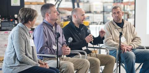 Jonathan Gano, second from right, is pictured at a panel discussion on water quality in the landscape upstream from Des Moines, Iowa. He is joined by with farmers who are active conservation partners and a Des Moines City Council member. (Photo provided)