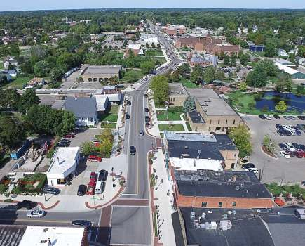 Pictured is an eagle's view of downtown Fenton's completed streetscape. During the rehabilitation process, the city opted to transition angled parking into parallel parking in order to increase safety. (Photo provided)