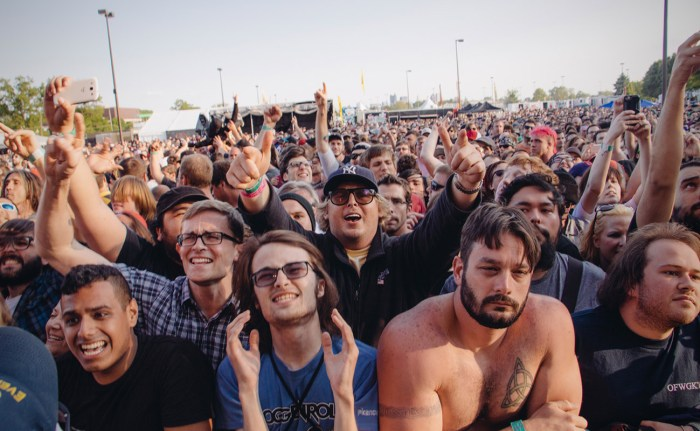 A raucous crowd at Rock on the Range 2016.