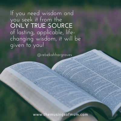 If you need wisdom and you seek it from the ONLY TRUE SOURCE of lasting, applicable, life-changing wisdom, it will be given to you!