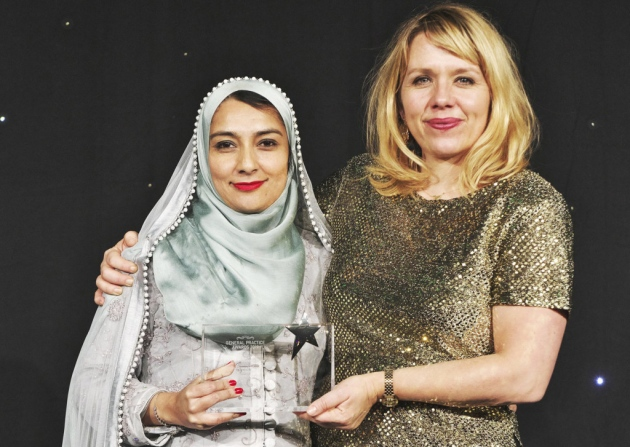 Dr, Farzana Hussain collecting her GP of the Year award from host Kerry Godliman. Picture: Julian Claxton | Dr. Farzana Hussain | NHS Best Doctor of the Year 2020