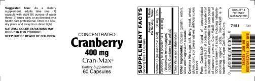 Cranberry 400mg 60ct 1