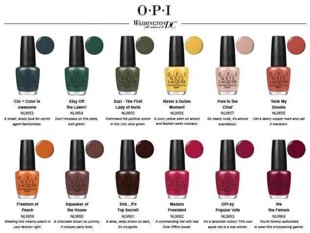 Washington dc by opi collection automne hiver 2016 2017 - Vernis automne 2017 ...