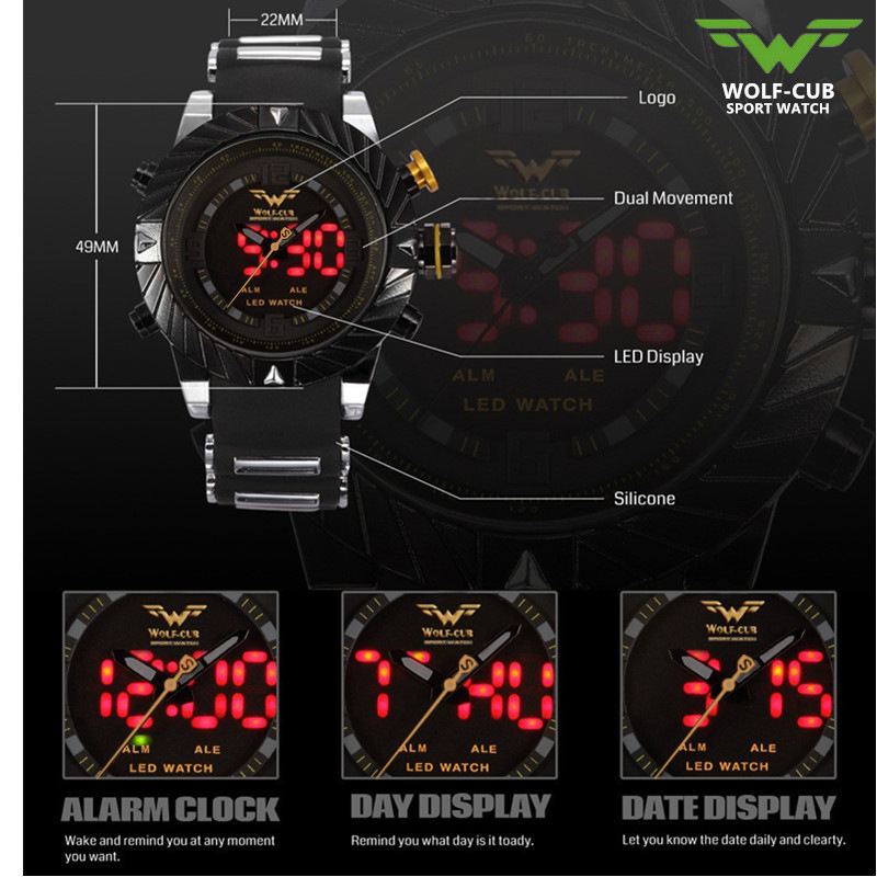 Fashion Sport Watch Auto Date LED Display Black Red Silicone Strap Band Digital Military Men Quartz Wristwatch