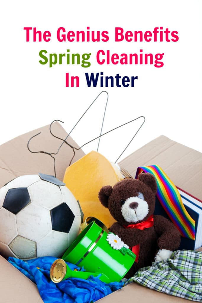 spring cleaning in the winter - box of toys