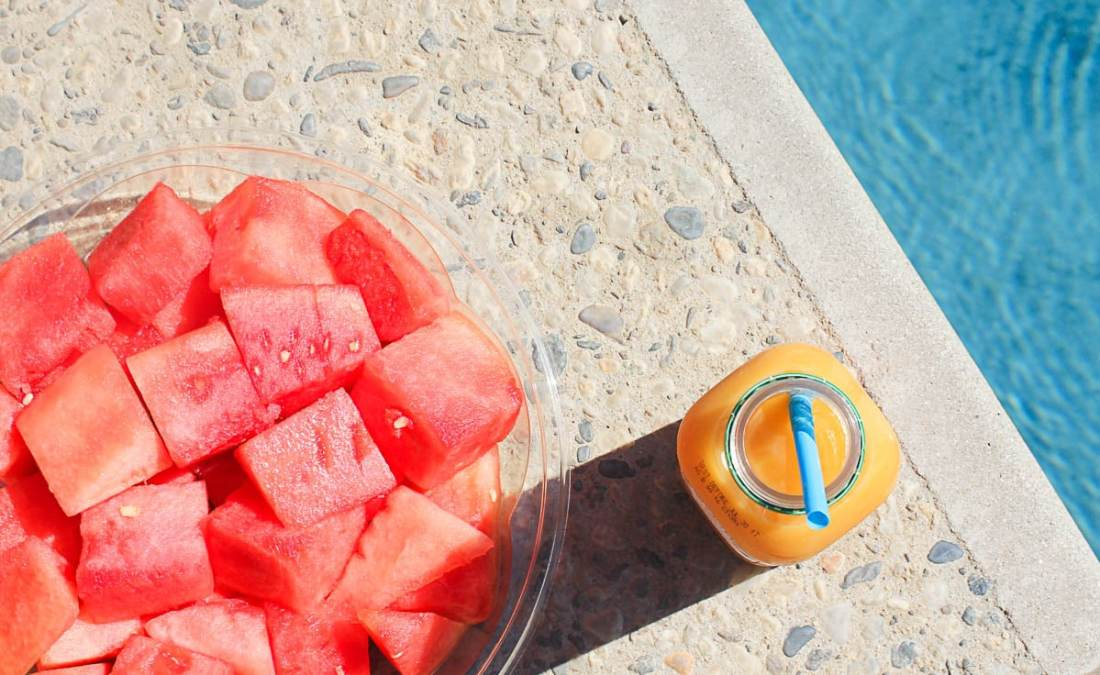 Fresh Fruit and Odwalla, poolside