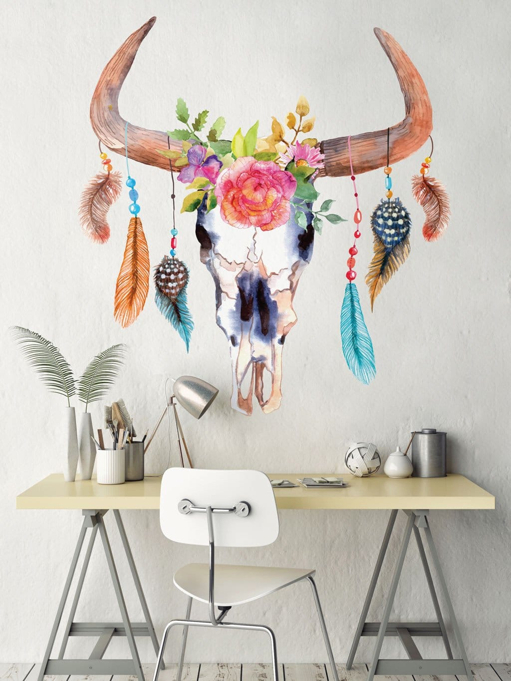 Skull and Feathers Wall Decal