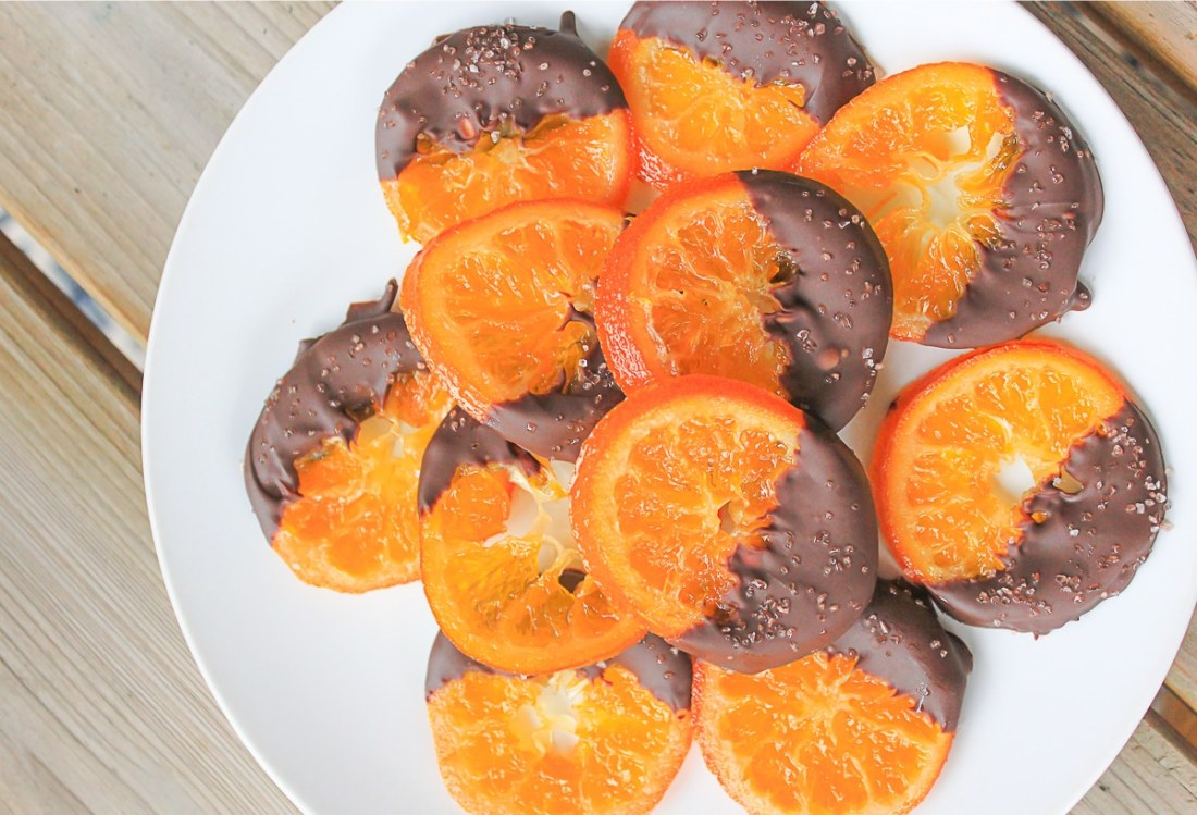 Candied Cuties with dipped in dark chocolate and sprinkled with sea salt.