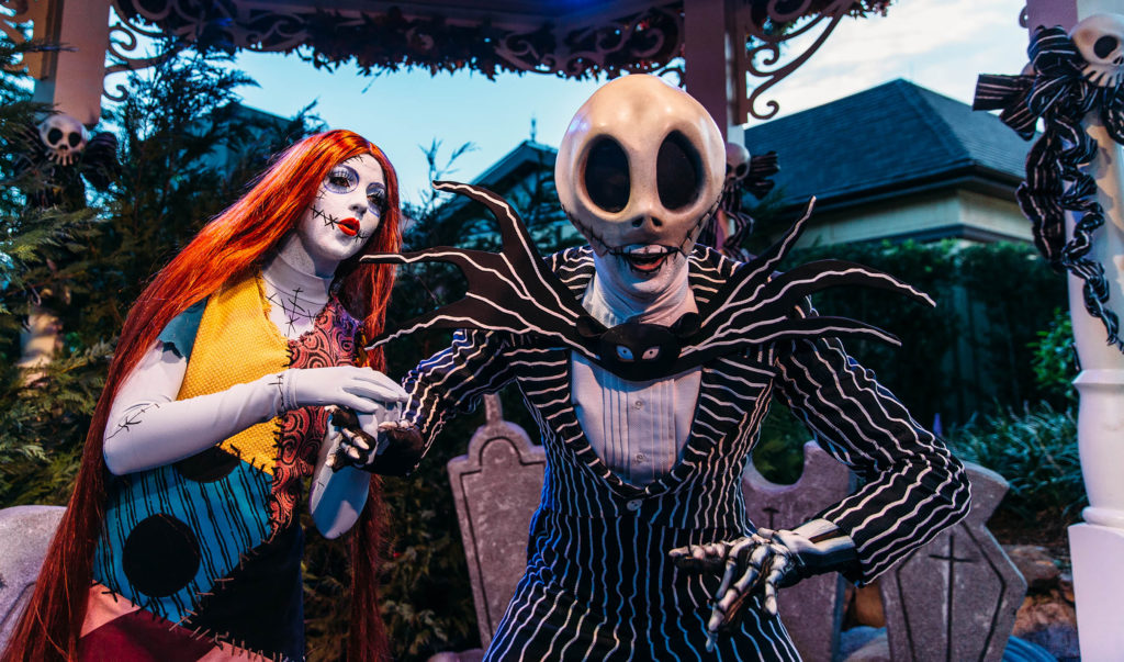 """Jack Skellington and Sally from Tim Burton's """"The Nightmare Before Christmas"""" are two of the many characters guests can meet at Magic Kingdom Park during Mickey's Not-So-Scary Halloween Party. The specially ticketed evening also includes trick-or-treating, the Happy HalloWishes fireworks display andmore. Mickey's Not-So-Scary Halloween Party takes place select nights Aug. 17- Oct. 31, 2018,at Walt Disney World Resort in Lake Buena Vista, Fla."""