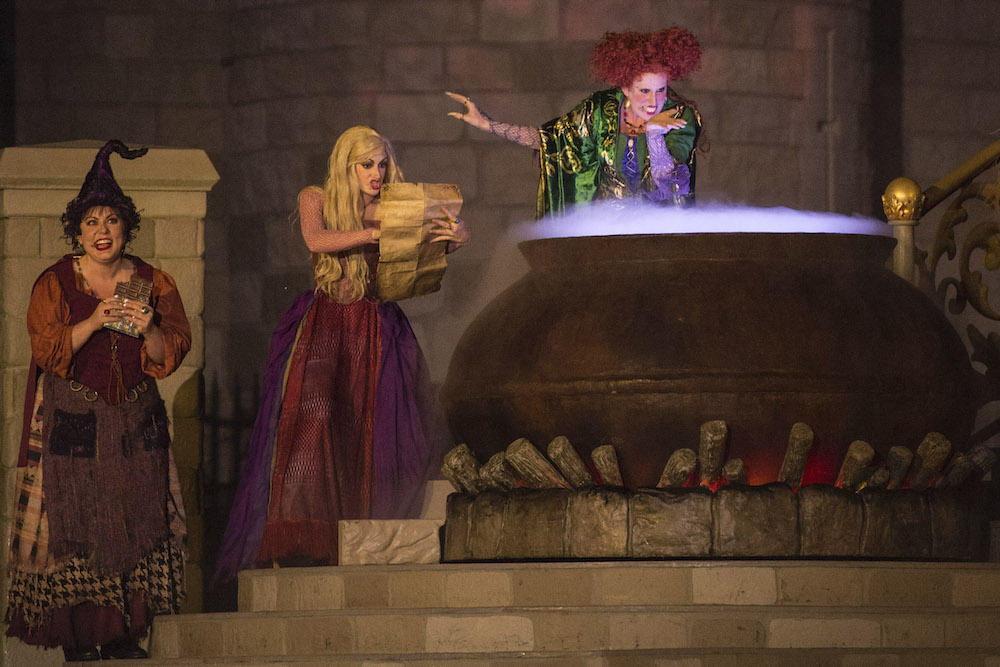 "New in 2015, the ""Hocus Pocus Villain Spelltacular,"" show during Mickey's Not-So-Scary Halloween Party at Magic Kingdom Park features the mischievous Sanderson Sisters from Disney's Hocus Pocus, who throw an evil Halloween party with appearances by Dr. Facilier, Oogie Boogie, Maleficent and other Disney villains, along with dancers, projections and special effects. Walt Disney World Resort is located in Lake Buena Vista, Fla."
