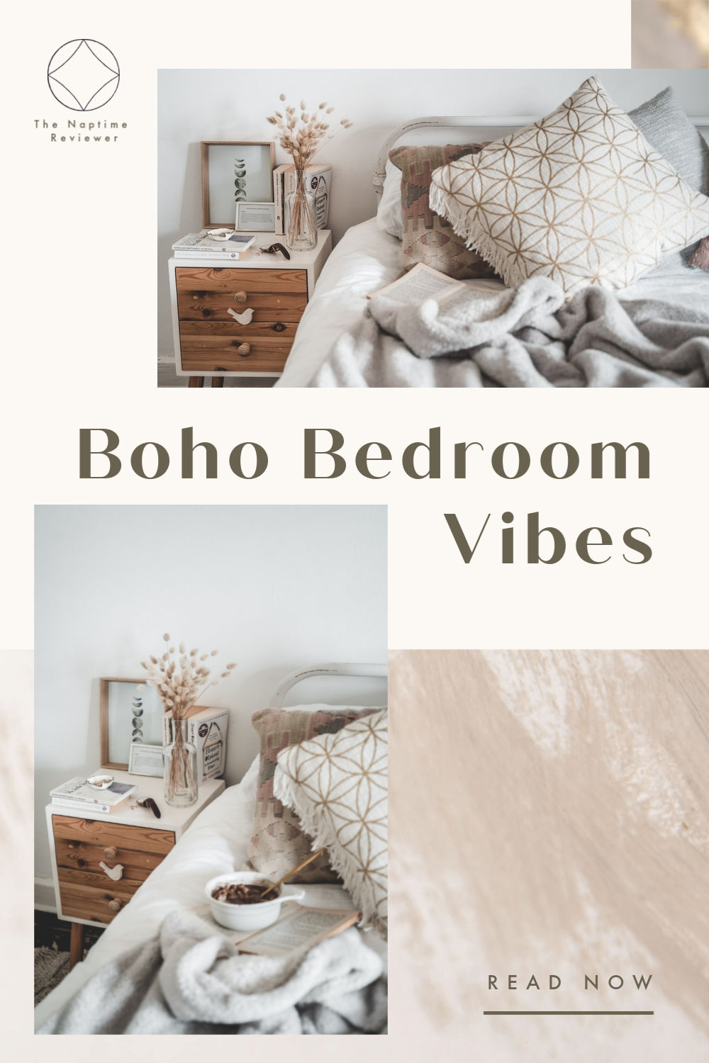 Boho bedroom vibes with vintage pillows