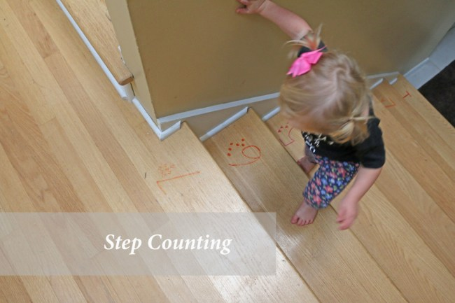 10 indoor play ideas: step counting with contact paper