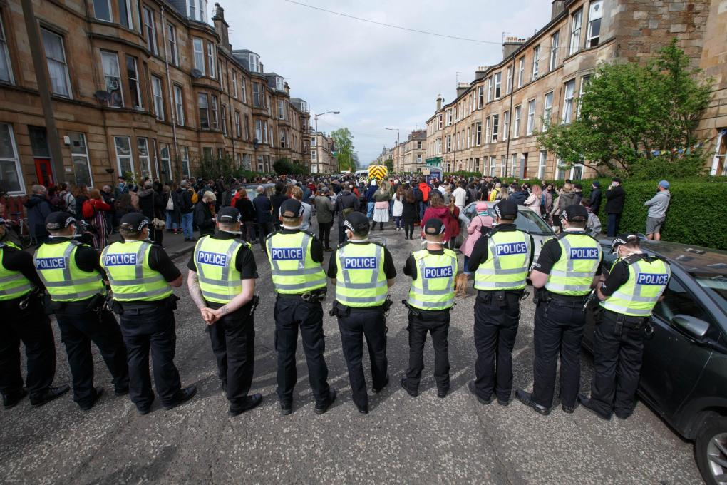 The National: Last week's anti-deportation protest in Kenmure Street, Glasgow