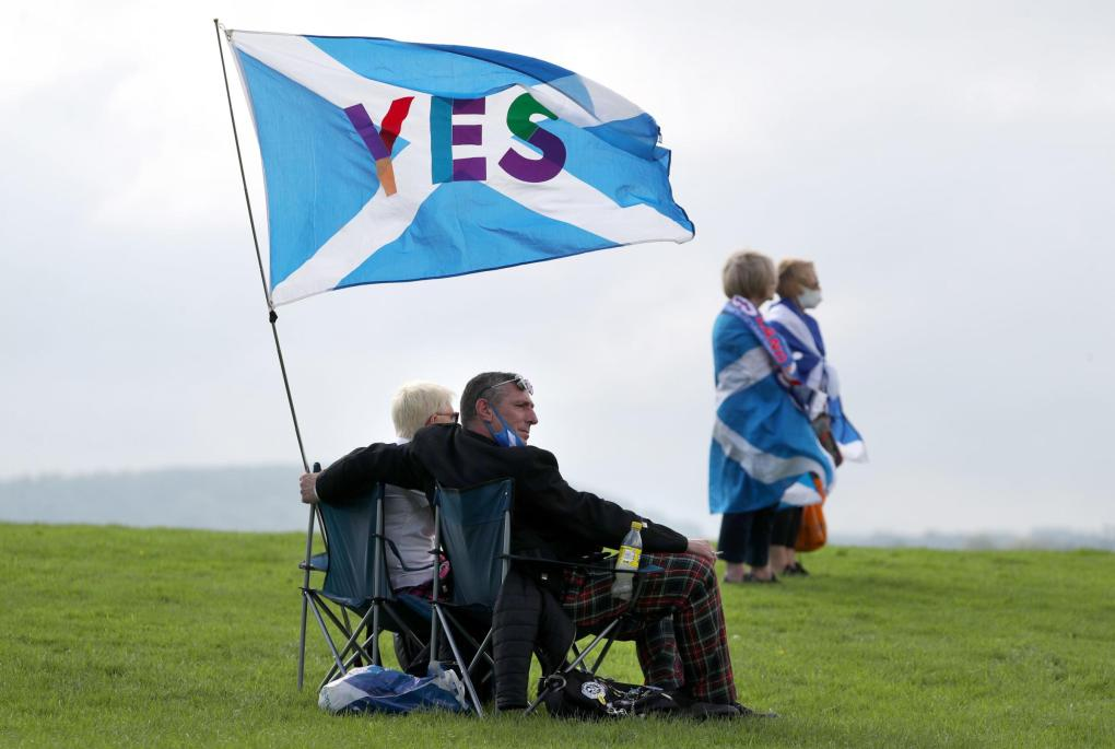 The National: People take part in the All Under One Banner Scottish independence demonstration at the Robert the Bruce statue at the Battle of Bannockburn site near Stirling. PA Photo. Picture date: Wednesday August 19, 2020. Photo credit should read: Andrew