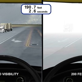 truck drivers view in fog