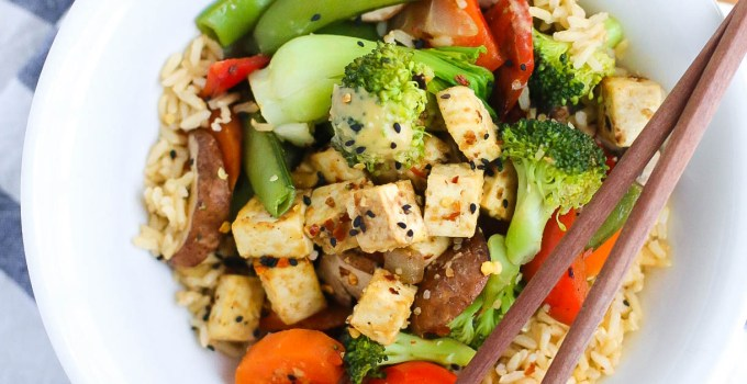 TOFU THAI STIRFRY with Miso-Sunbutter-Lime-Dressing (V|GF|DF)