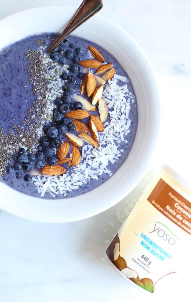 bananaless, blueberry, maca, vegan, smoothie bowl