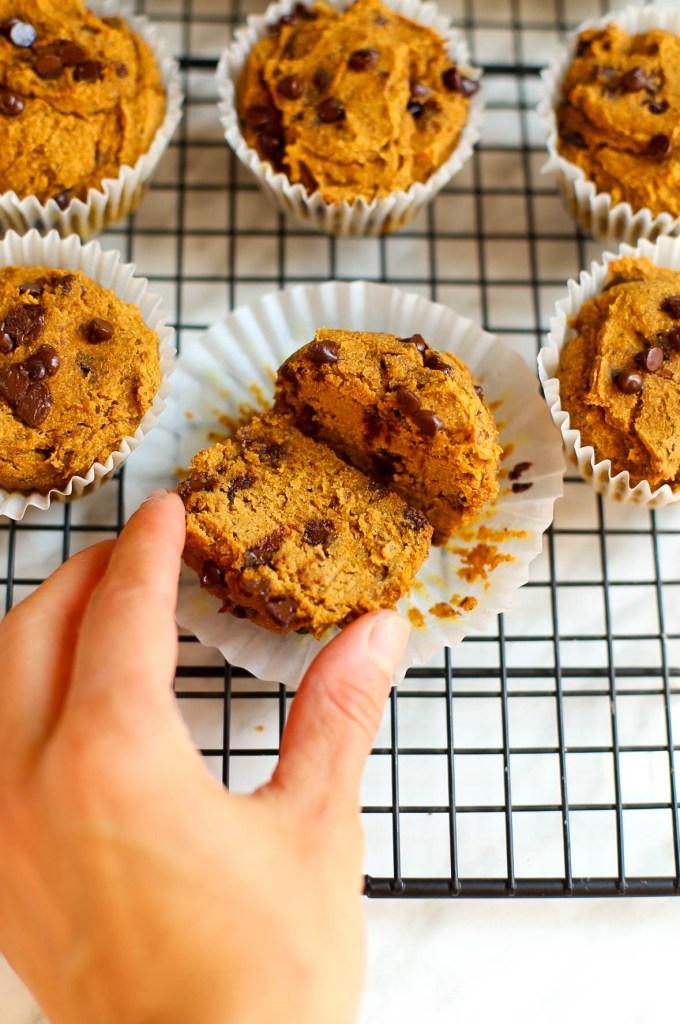 buckwheat pumpkin spice chocolate chip muffins