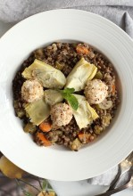 HARVEST LENTIL SALAD WITH ARTICHOKES AND HAZELNUT CRUSTED GOAT CHEESE