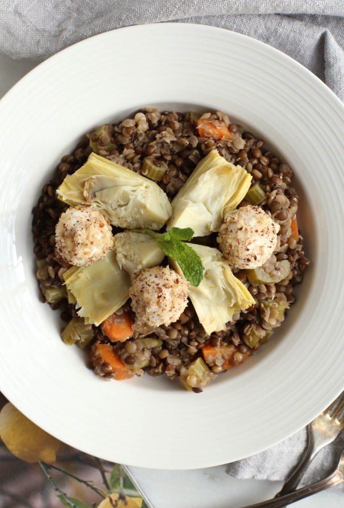 lentil, salad, artichokes, goat cheese, dinner, lunch, side dish, healthy, simple, everyday meals, gluten-free