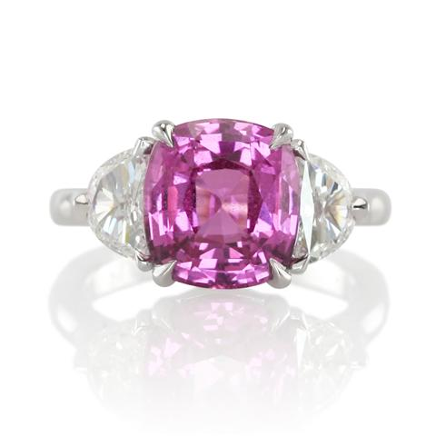 Gorgeous Cushion Cut Pink Sapphire Engagement Ring The
