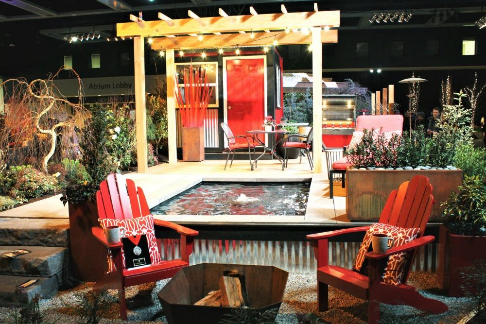 red theme garden display