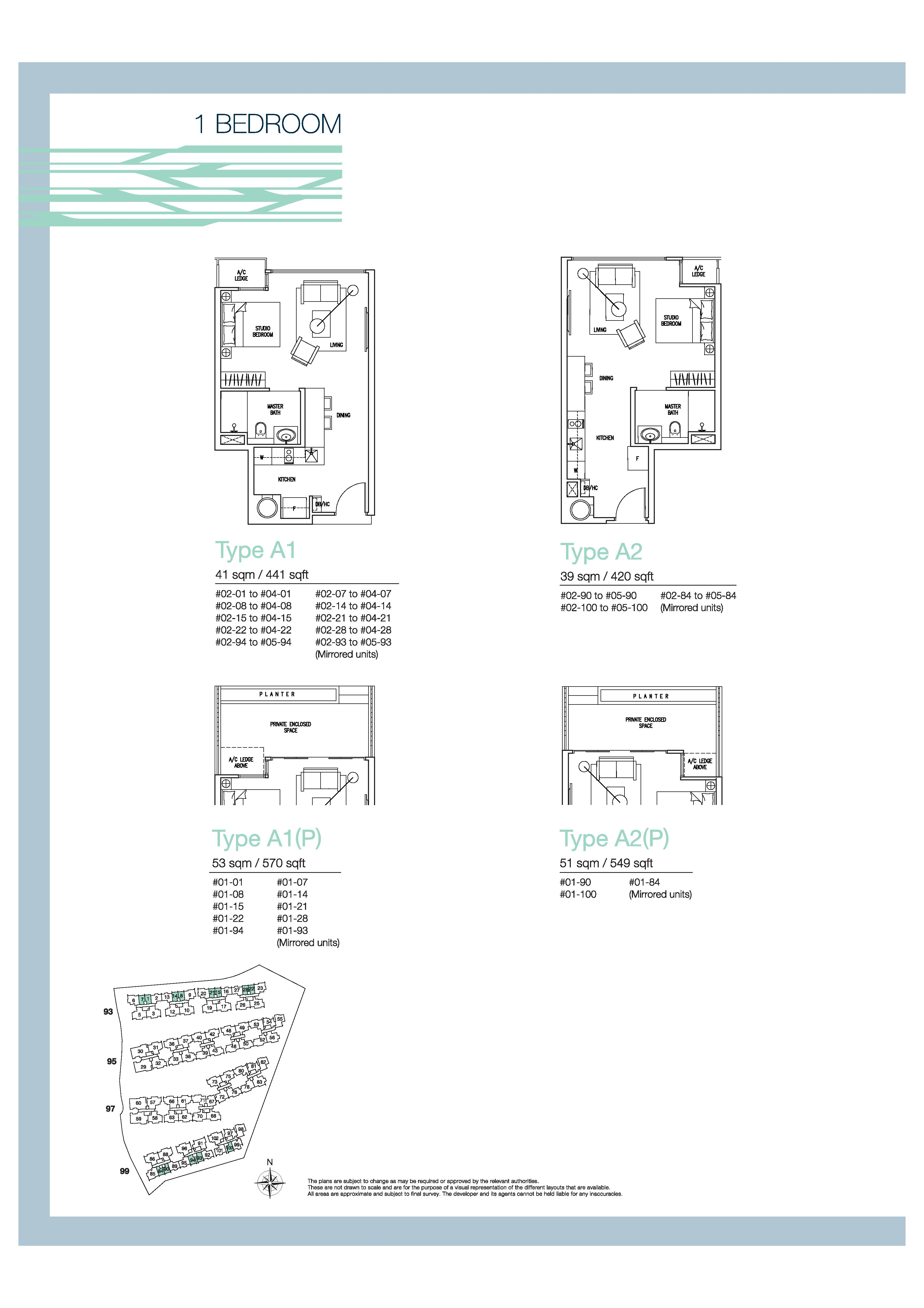 The Nautical 1 Bedroom Floor Plans Type A1, A1(P), A2, A2(P)