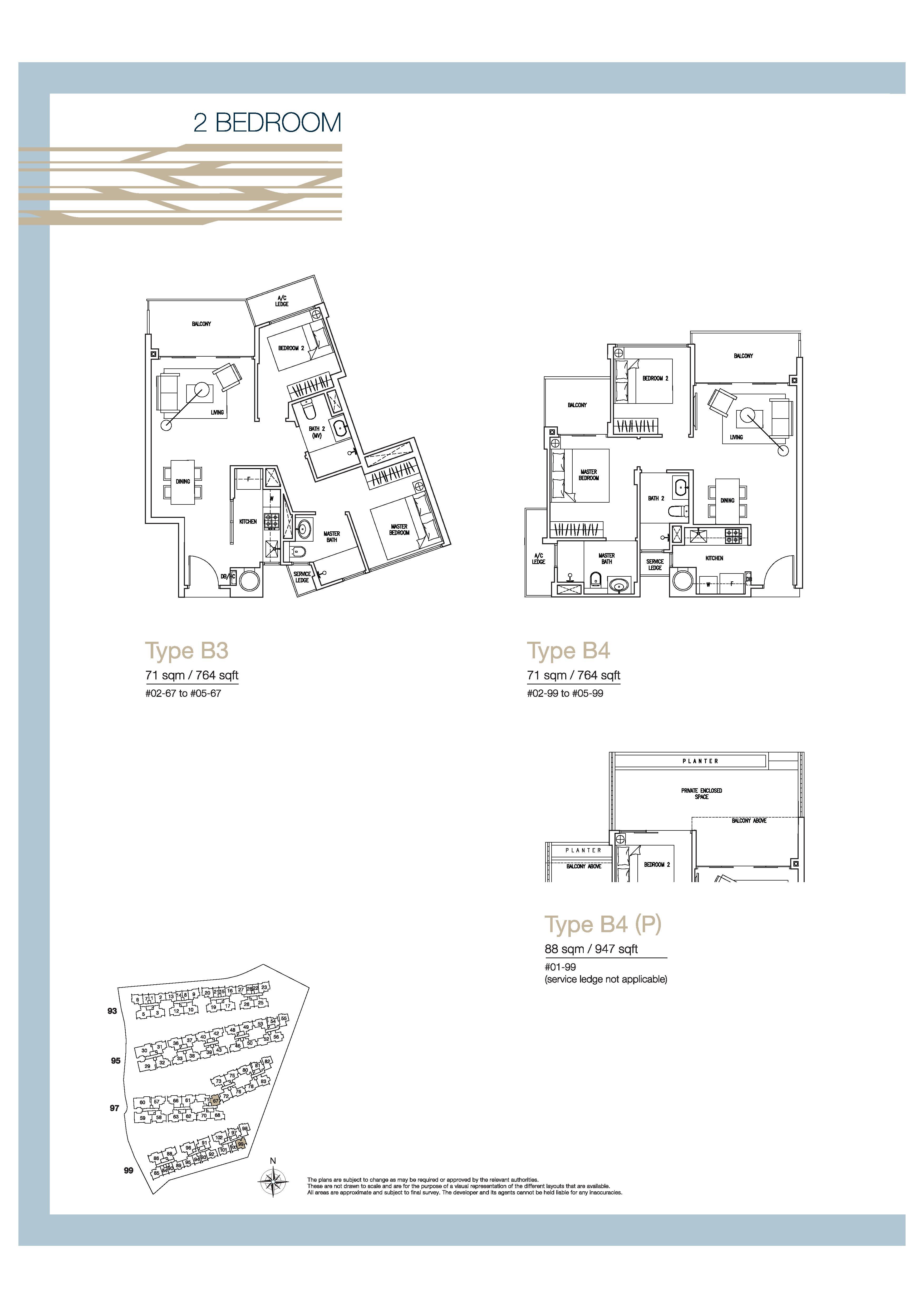 The Nautical 2 Bedroom Floor Plans Type B4, B4, B4(P)