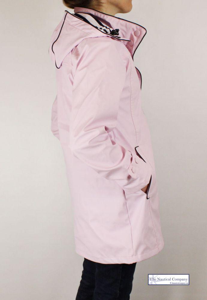Women S Waterproof Jacket Pink Hooded Striped Lined
