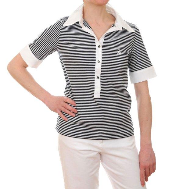 Women's Short Sleeved Striped Breton Polo Shirt (Navy Blue ...