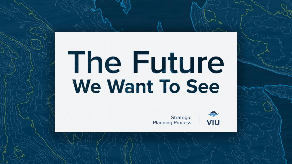 """The test """"The Future We Want To See"""" is written on a white box. The back ground is blue with lime green circles and swiggles"""