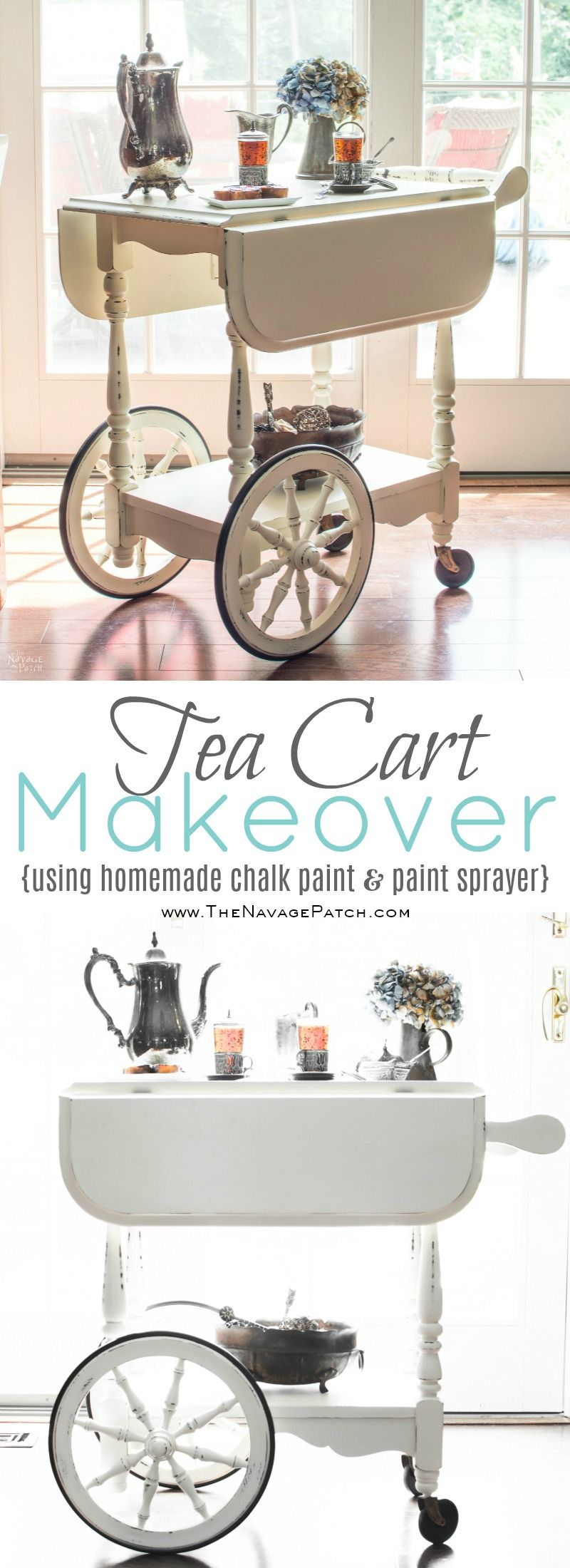 ea Cart Makeover | DIY furniture makeover | DIY painted furniture with homemade chalk paint | DIY chalk paint | French country decorating | Farmhouse style furniture | Annie Sloan Old White color | How to use homemade chalk paint with paint sprayer | DIY chalk paint recipe | Wagner paint sprayer | Before & After | TheNavagePatch.com