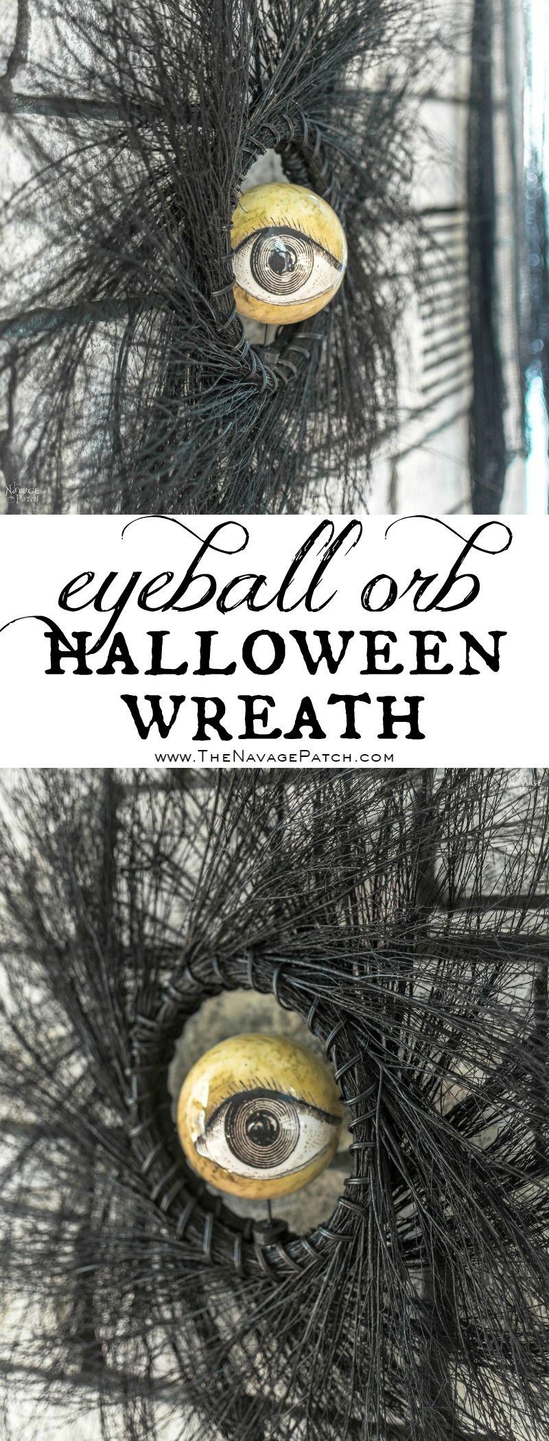 Eyeball Orb Halloween Wreath   Easy and budget friendly DIY Halloween wreath  Quick and elegant Halloween wreath   Fun and spooky Halloween decorations  TheNavagePatch.com