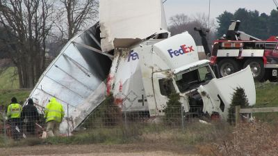 SR 18 by pass Fed Ex truck wind wreck 2