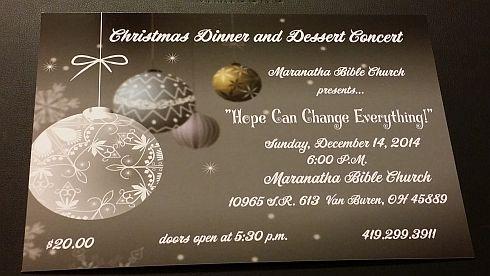 TODAY – Christmas Dinner & Dessert Concert