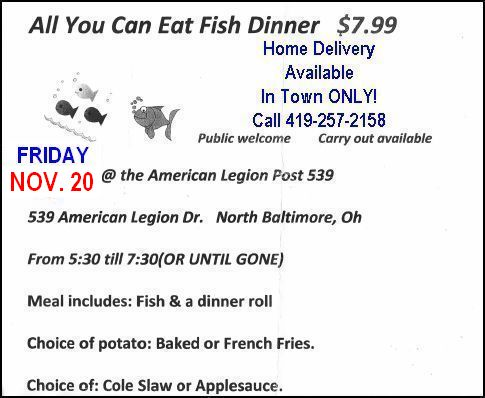 Fish Fry Friday at the Legion Nov. 20