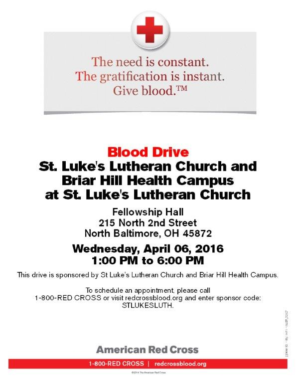 TODAY – Briar Hill Health Campus and St. Luke's Blood Drive