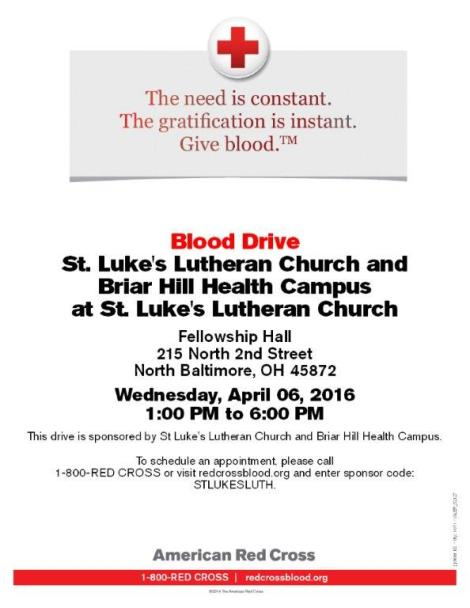 Blood Drive Briar HIll and St. Lukes flyer
