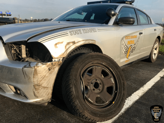 Ohio Highway Patrol seeks driver who struck a Patrol cruiser