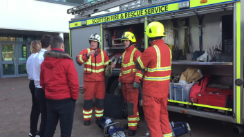 The Fire crew from Crew Toll who attended the crash involving brad talk to teenagers at Broughton High School