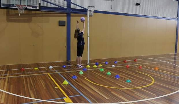Netball coaching drill starfish goaling