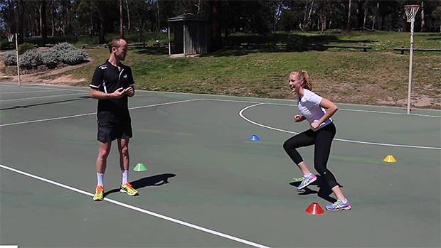 Four-cone footwork conework netball drill coaching