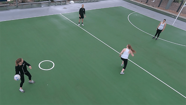 Downcourt clear drive and reoffer netball drill