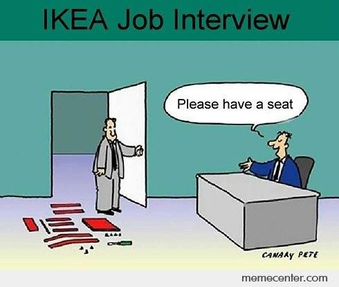 ikea pieces on the floor to build up for the interviewer